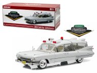 1959 CADILLAC AMBULANCE WHITE 1/18 SCALE DIECAST CAR MODEL BY GREENLIGHT PRECISION 18004