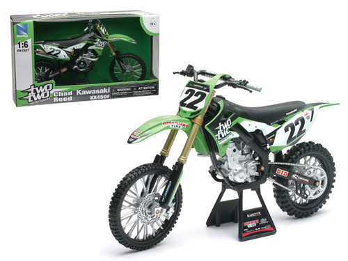 Kawasaki KX 450F Two Two Motorsports Chad Reed #22 Dirt Bike Motorcycle 1/6 Scale Diecast Model By NewRay 49493