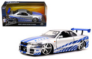 Nissan Skyline GT-R R34 Brians Fast & Furious 1/24 Scale Diecast Car Model By Jada 97158 New Package