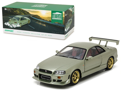 1999 Nissan Skyline GT-R R34 Jade Green 1/18 Scale Diecast Car Model By Greenlight Artisan Collection 19033