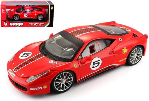 Ferrari 458 Challenge #5 Red 1/24 Scale Diecast Car Model By Bburago 26302