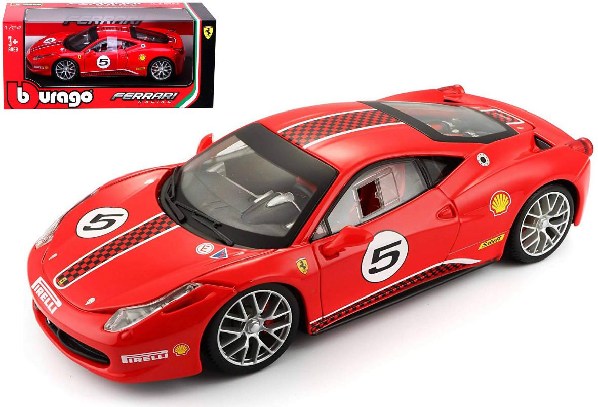 Ferrari 458 Challenge 5 Red 1 24 Scale Diecast Car Model By Bburago 26302 Jvk Toys
