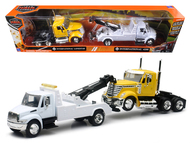 International 4200 Tow Truck White and International Lonestar Cab Yellow Truck 1/43 Scale By Newray 15073