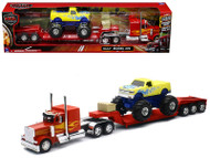 Peterbilt 379 Lowboy Hauler With Monster Truck Semi Trailer 1/32 Scale By Newray 11263