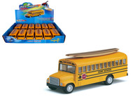 "School Bus With Wooden Surf Board Toy Car Box Of 12 Pull Back 5"" By Kinsmart Kids Fun KS5107"
