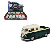 "1963 Volkswagen Bus Double Cab Truck Box Of 12 Pull Back 5"" 1/34 Scale By Kinsmart KT5387 D"
