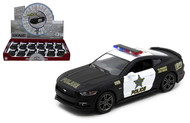 "2015 FORD MUSTANG GT POLICE BOX OF 12 1/38 SCALE 5"" DIECAST CAR MODEL PULL BACK BY KINSMART KT5386DP"