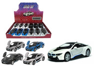 "BMW i8 Box Of 12 Pull Back 5"" 1/36 Scale By Kinsmart KT5379 D"