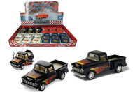 "1955 Chevy Stepside Truck With Flames Box Of 12 Pull Back 5"" 1/32 Scale By Kinsmart KT5330"