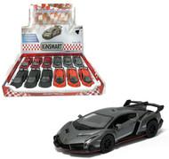 "Lamborghini Veneno Toy Car Box Of 12 Pull Back 5"" 1/36 Scale By Kinsmart KT5367"