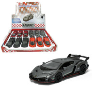 "LAMBORGHINI VENENO TOY CAR BOX OF 12 PULL BACK 5"" 1/36 SCALE BY KINSMART KT5367"