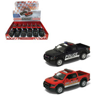2013 Ford F-150 SVT Raptor Supercrew Police Fire & Rescue Box Of 12 Pull Back 1/46 Scale By Kinsmart KT5365