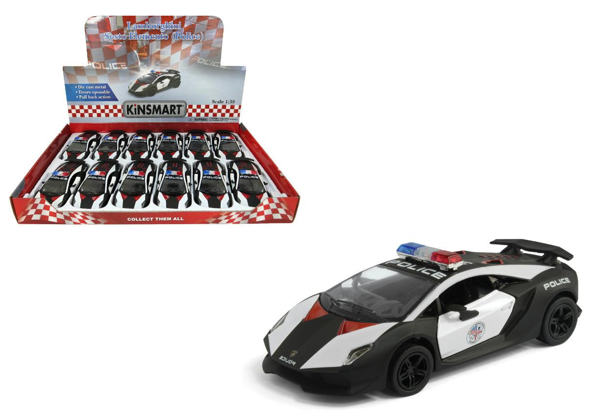Lamborghini Sesto Elemento Police Toy Car Box Of 12 Pull Back 5 1