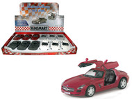 """Mercedes Benz SLS AMG Toy Car Box Of 12 Pull Back 5"""" 1/36 Scale By Kinsmart KT5349"""