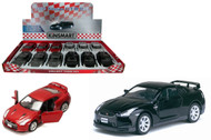 "2009 Nissan GT-R R35 Toy Car Box Of 12 Pull Back 5"" 1/36 Scale By Kinsmart KT5340"