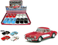 "1957 Chevy Corvette Toy Car Box Of 12 Pull Back 5"" 1/34 Scale By Kinsmart KT5316"