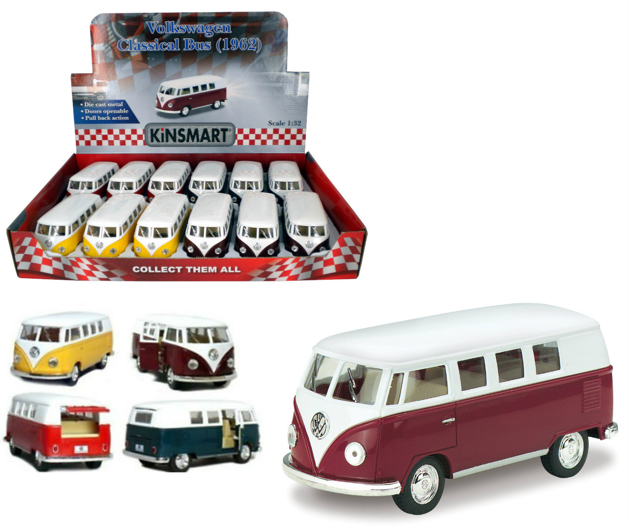 """1962 Volkswagen Bus Toy Car Box Of 12 Pull Back 5"""" 1/32"""