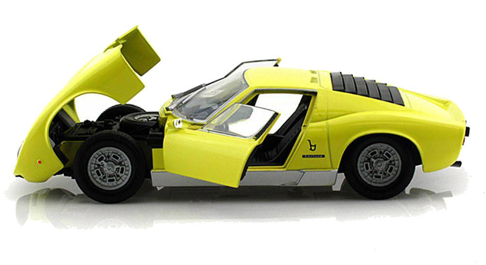 Lamborghini Miura P400 S Yellow 1 24 Scale Diecast Car Model By