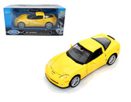 2007 Chevrolet Corvette C6 Z06 Yellow 1/24 Scale Diecast Car Model By Welly 22504