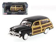 1949 Ford Woody Wagon Black 1/24 Scale Diecast Car Model By Motor Max 73260