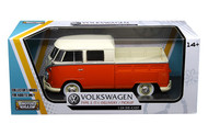Volkswagen Type 2 T1 Double Cab Pickup Truck Red 1/24 Scale Diecast Model By Motor Max 79343