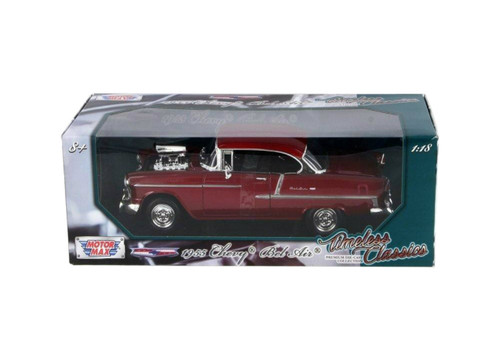 1955 Chevrolet Bel Air Red 1/18 Scale Diecast Car Model By Motor Max 79002