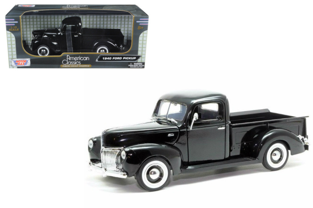 1940 ford pickup truck black 1 18 scale diecast model by motor max 73170