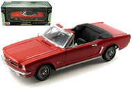 1964 1/2 Ford Mustang Convertible Red 1/18 Scale Diecast Car Model By Motor Max 73145