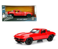 1963 CHEVROLET CORVETTE RED FAST & FURIOUS 1/24 SCALE DIECAST CAR MODEL JADA TOYS 98298