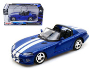 1997 Dodge Viper RT/10 Blue 1/24 Scale Diecast Car Model By Maisto 31932