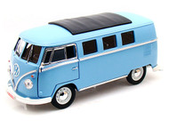 1962 VOLKSWAGEN MICROBUS BUS BLUE 300 MADE 1/18 SCALE DIECAST CAR MODEL BY GREENLIGHT 12852
