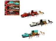 Valley Ranch Play Set Cowboys Horses Truck & Trailer Set Of 3 1/32 Newray 54996
