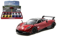 2016 PAGANI HUAYRA BC BOX OF 12 PULL BACK 1/38 SCALE DIECAST CAR MODEL BY KINSMART KT5400