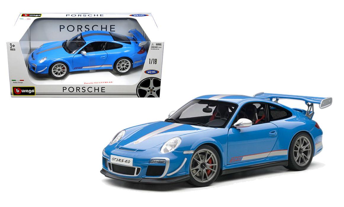 Porsche 911 Gt3 Rs 4 0 Blue 1 18 Scale Diecast Car Model By Bburago 11036