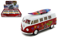 1962 Volkswagen Bus Peace & Love With Surfboard Box Of 12 1/32 Scale By Kinsmart KT5060DFS