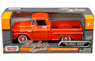 1958 Chevrolet Apache Fleetside Pick Up Truck Orange 1/24 Scale Diecast Model By Motor Max 79311