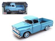1958 Chevrolet Apache Fleetside Pick Up Truck Blue 1/24 Scale Diecast Model By Motor Max 79311