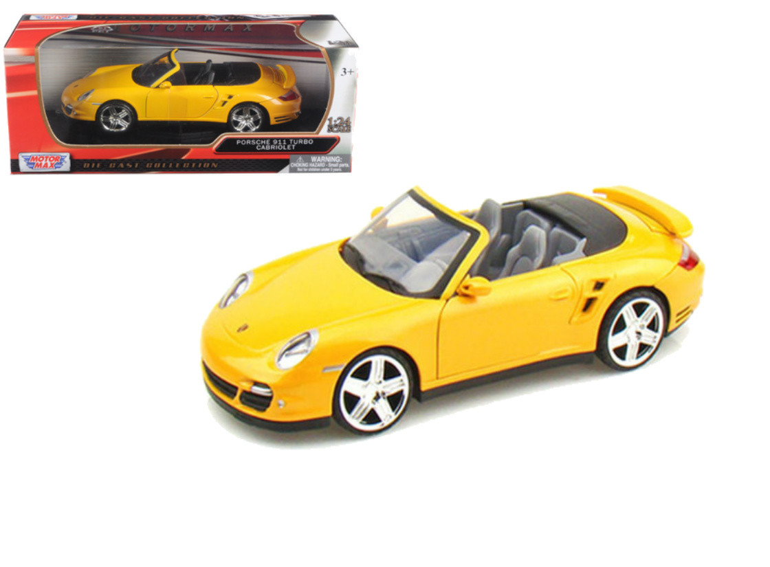 Porsche 911 Turbo Cabriolet Yellow 1 24 Scale Diecast Car Model By