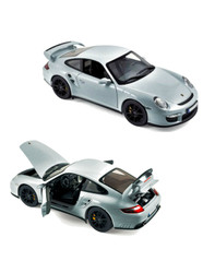 2007 Porsche 911 GT2 Silver 1/18 Scale Diecast Car Model By Norev 187594