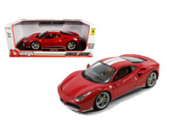 Ferrari 488 GTB Red White Stripes 70th Schumacher 1/18 Scale Diecast Car Model By Bburago 76102