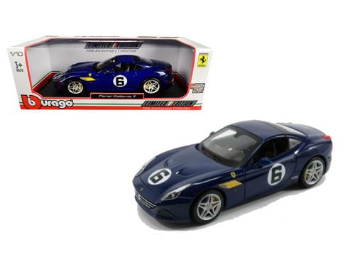 Ferrari California T Blue Sunoco #6 70th 1/18 Scale Diecast Car Model By Bburago 76104