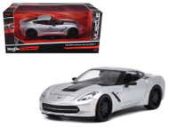 2014 Chevrolet Corvette C7 Stingray Silver 1/24 Scale Diecast Car Model By Maisto 32510