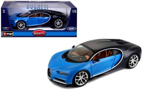 2016 Bugatti Chiron Blue With Black 1/18 Scale Diecast Car Model By Bburago 11040