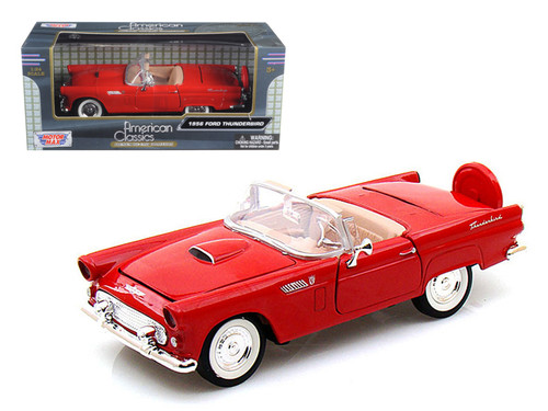1956 Ford Thunderbird T-Bird Convertible Red 1/24 Scale Diecast Car Model By Motor Max 73215