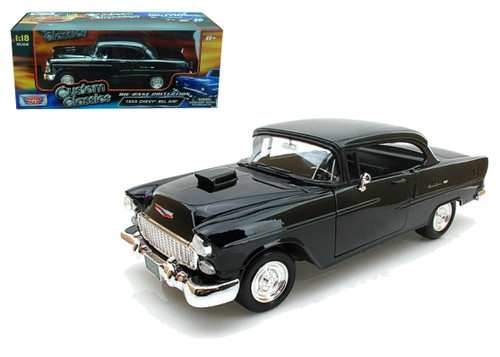 1955 Chevy Bel Air With Hood Scoop Black 1/18 Diecast Car Model By Motor Max 79001