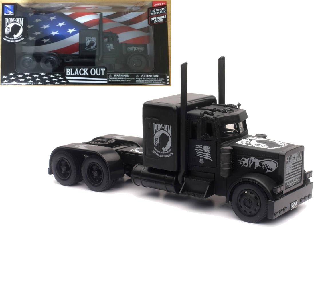 Peterbilt Black Out Mia Pow Semi Truck 1 32 Scale By Newray 11643