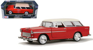 1955 Chevrolet Bel Air Nomad Red 1/24 Scale Diecast Car Model By Motor Max 73248