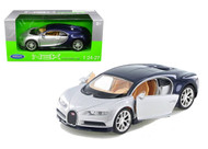 Bugatti Chiron 2 Tone Silver & Blue 1/24 Scale Diecast Car Model By Welly 24077