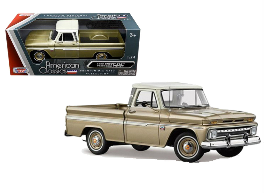 9ac59839ff260 1966 Chevrolet C-10 Fleetside Pickup Truck Gold 1 24 Scale Diecast ...