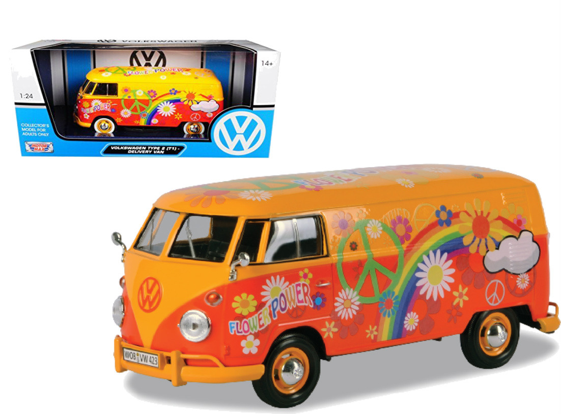 75a598ab1f Volkswagen Type 2 T1 Delivery Van Flower Power 1 24 Scale Diecast ...